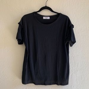 Carly Jean black tshirt with ruffle on sleeve